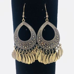 Antique Bronze Colored Ornate Dangle Earrings